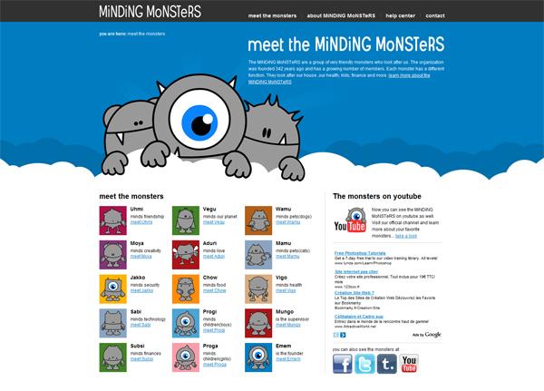 Minding Monsters网站设计鉴赏
